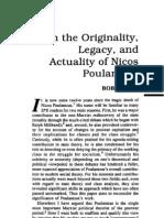 Poulantzas Nicos Orignality Legacy and Actuality