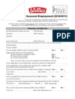 Application for Seasonal Employment 10-11
