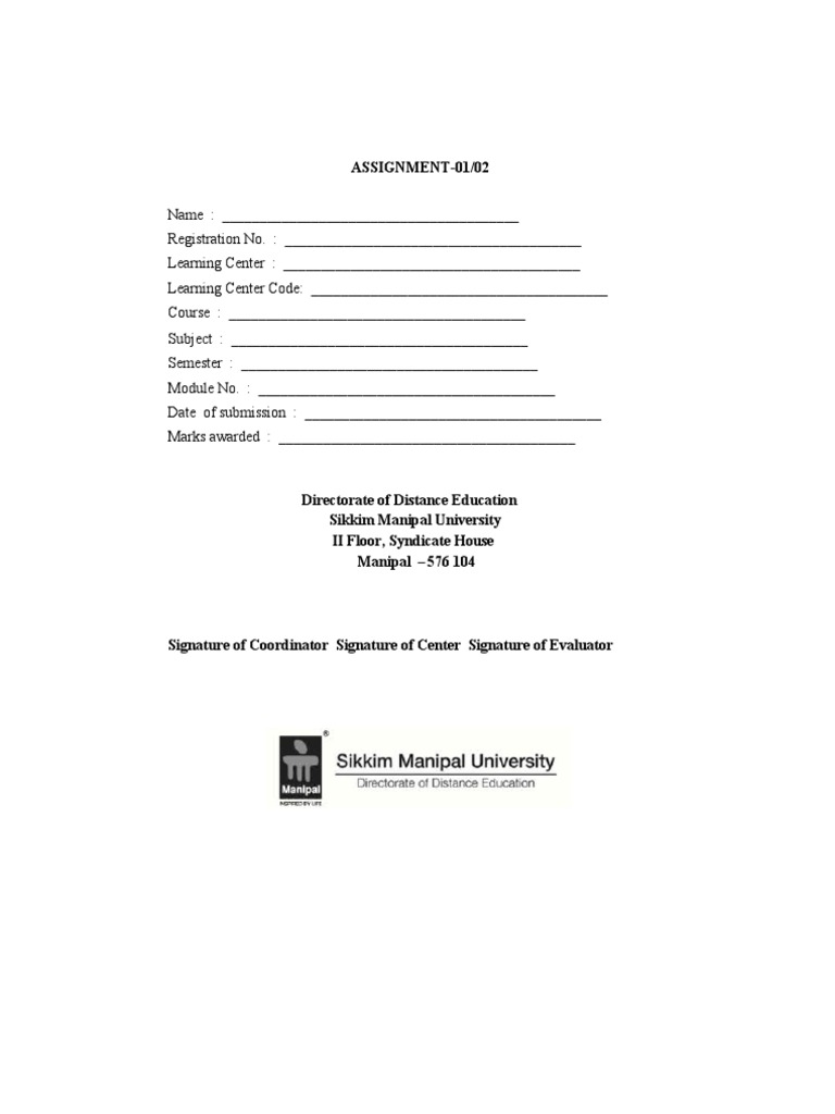 smu assignment front page