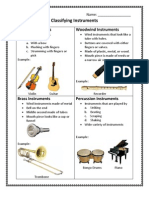 Instrument Classifications Worksheet
