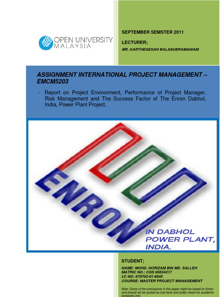 emcm assignment international project management enron