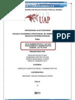 ACTO ADMINISTRATIVO Y LEY DEL PROCEDIMIENTO ADMINISTRATIVO GENERAL LEY Nº 27444