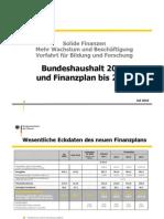 Bundeshaushalt 2011 und Finanzplan bis 2014