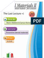 Lecture 20, Preventive dental materials (Script)