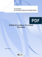 Release 1 FDF40110 Certificate IV in Food Processing
