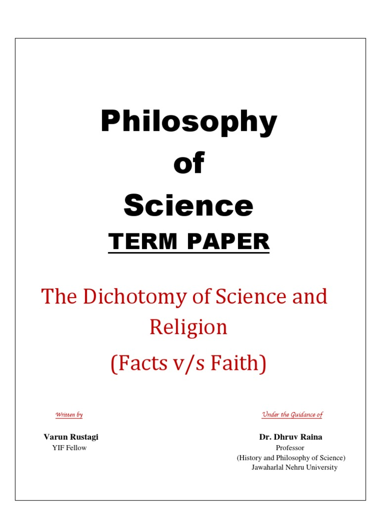 Philosophy Term Paper | Relationship Between Religion And ...