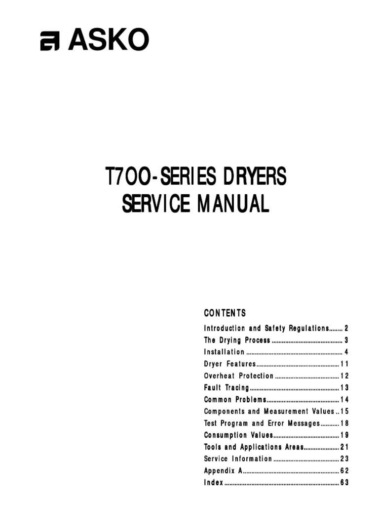 asko t700 series dryer service manual clothes dryer washing machine rh scribd com Asko T731 Dryer Asko Dryer Parts List