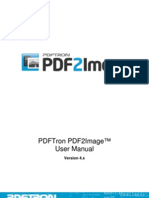PDFTron PDF2Image User Manual | File Format | Portable Document Format