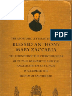 The Apostolic Letter of Leo XIII on Blessed Anthony Zaccaria