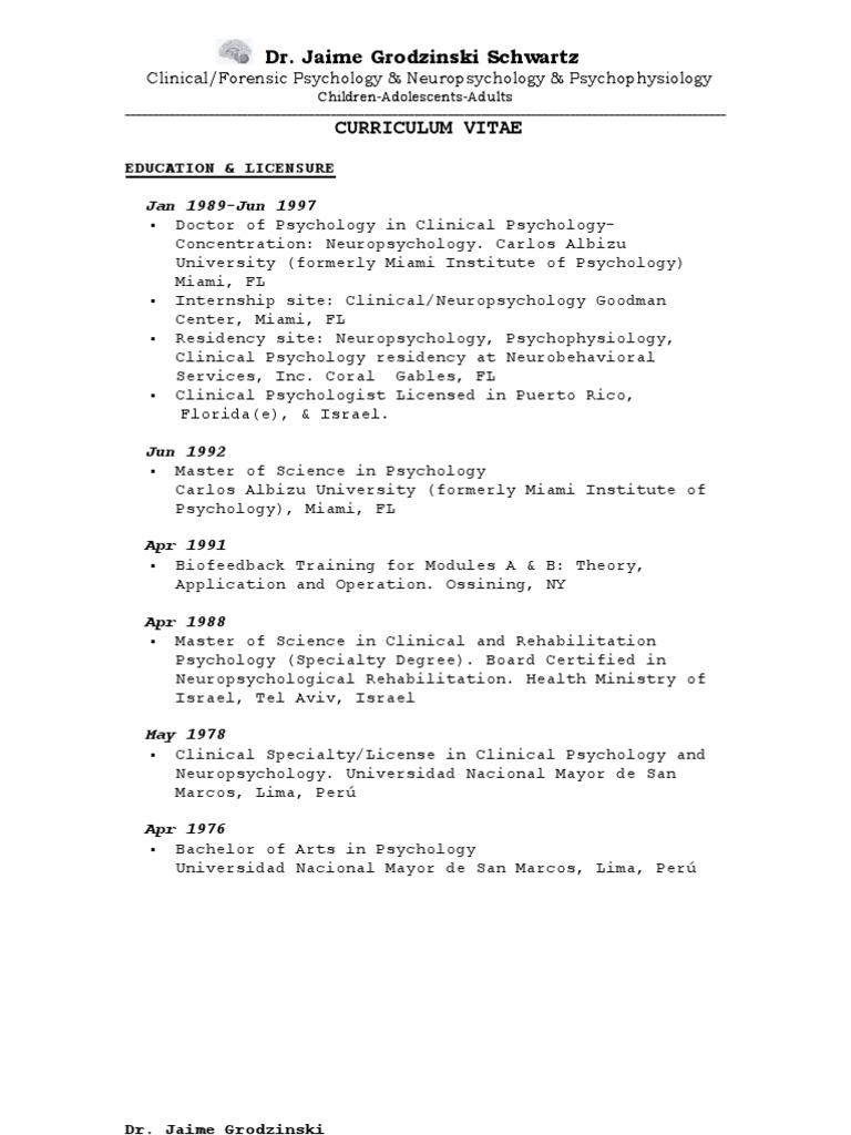 CVOctober2011 | Clinical Psychology | Psychology & Cognitive Science
