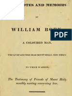 Joshua Coffin--Anecdotes and Memoirs of William Boen, A Coloured Man, Who Lived and Died Near Mount Holly, New Jersey (1834)
