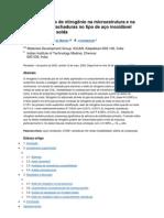 Efeito Da Adicao de Nitrogenio Na Microestrutura e Na Zona de Fusao Rachaduras No Tipo de Aco Inoxidavel 316L Metais de Solda