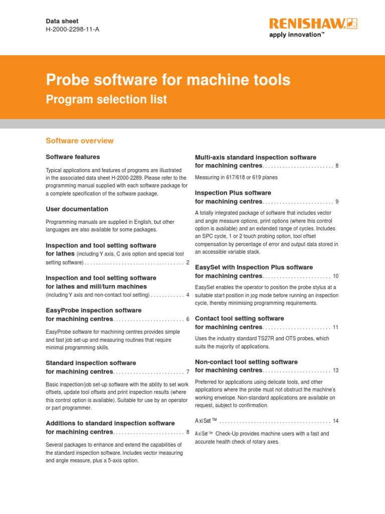 Probe Software for Machine Tools Data Sheet - Program Selection List