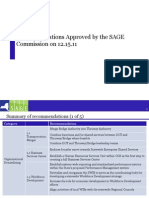 SAGE Commission's 12.15.11 Summary of Recommendations Approved