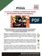 Mincultura Publica La Experiencia Social Del Programa Radios Ciudadanas