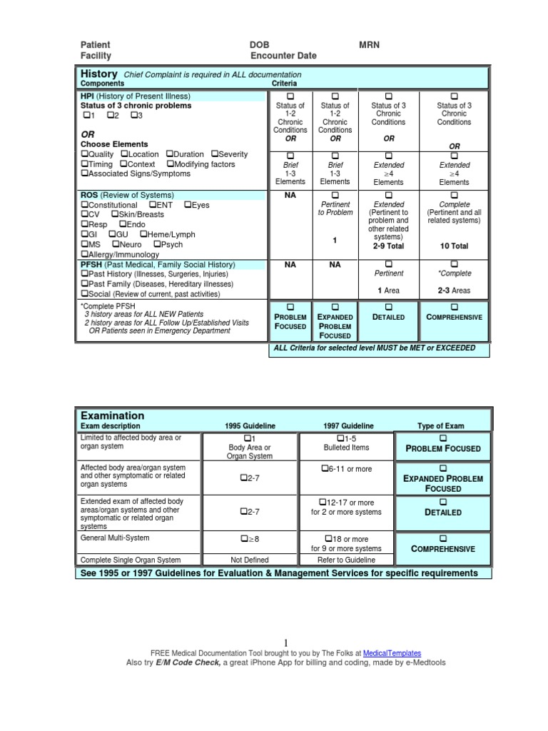 e and m documentation and coding worksheet