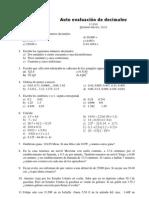 Autoevaluación de decimales, 1º de ESO
