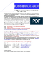 The Invitation Letter for 18th EU Forum to Discuss Burma