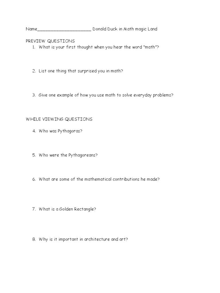 Free Worksheet Donald In Mathmagic Land Worksheet donald duck in mathmagic land questions