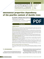 Mechanical Properties Dependency of the Pearlite Content of Ductile Irons