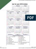 Year 2012 Calendar – India