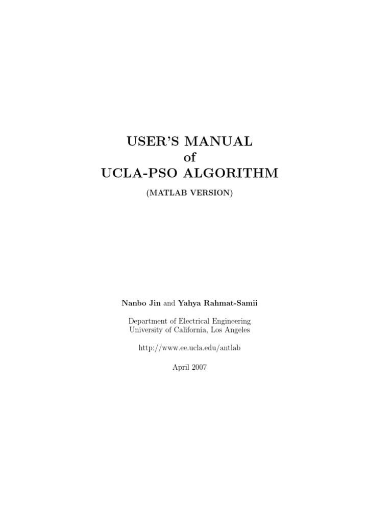 Ucla Pso Manual | Mathematical Optimization | Subroutine