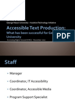 AHG 2011 - Accessible Text Production What Has Been Successful for George Mason University
