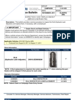 Recall Inspect/Replace HLA (Hydraulic Lash Adjusters)