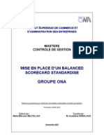 MISE EN PLACE D'UN BALANCED SCORECARD STANDARDISE. GROUPE ONA