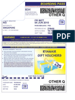 Ryan Air Boarding Pass PARIS