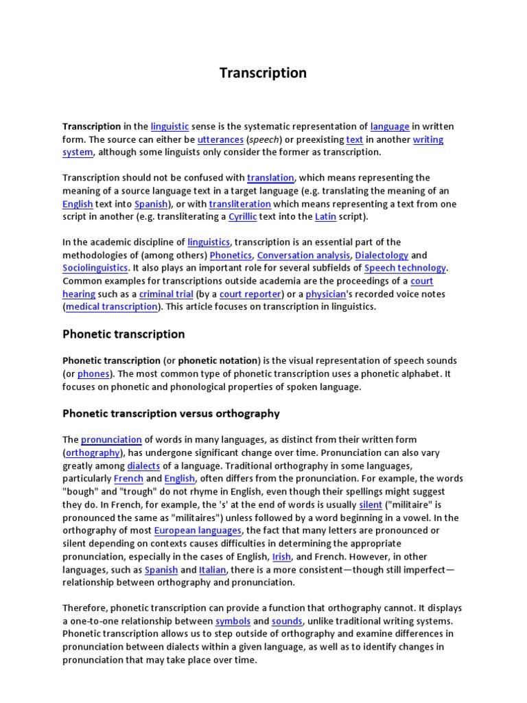 Transcription phonetics oral communication buycottarizona Images