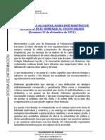PALABRAS ALCALDESA DE ARANJUEZ EN HOMENAJE AL VOLUNTARIADO