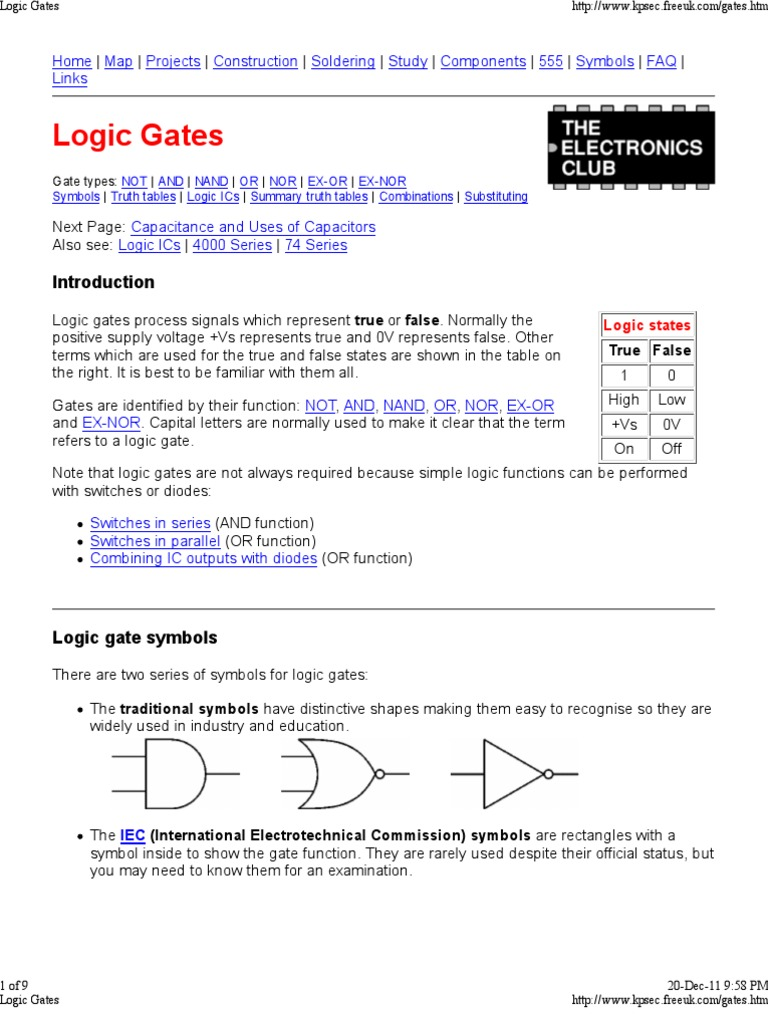 Logic Gates Logic Gate Electronic Circuits