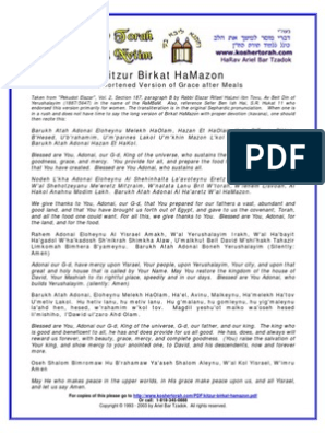 image relating to Birkat Hamazon Text Printable called kitzur-birkat-hamazon Jewish Theology Hebrew Words and phrases And