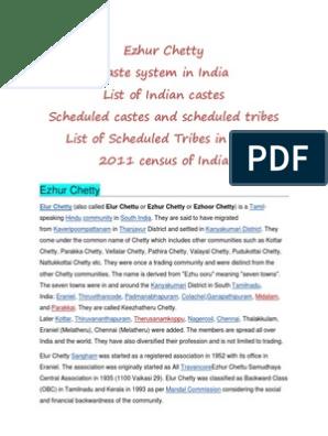 Ezhur Chetty and Caste System in India | Dalit | Religion
