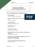 Resumen prensa CEU-UCH 21-12-2011