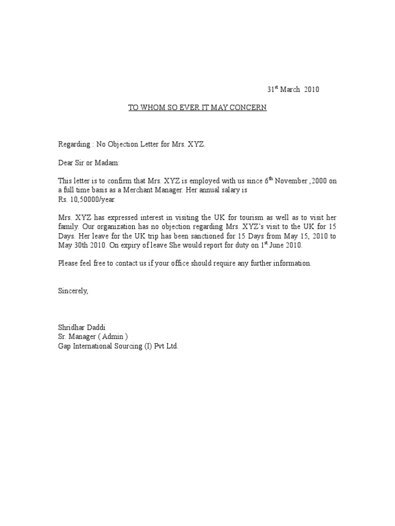 letter of no objection format Template – Non Objection Certificate for Job