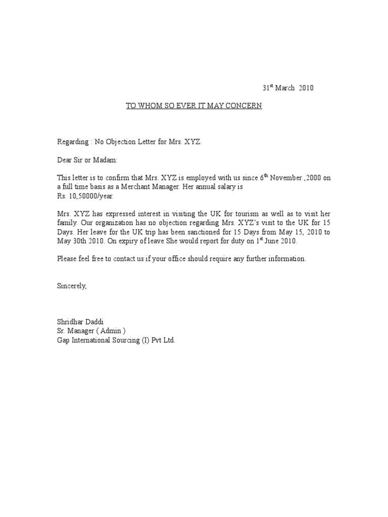 Sample No Objection Letter Certificate Noc 1 – Noc Sample