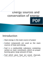 Energy Sources and Conservation of Energy