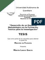 Desarrollo de Un Esquema Metodologico en La Formacion Teorica Para La Investigacion