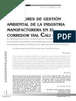 Indicadores de Gestion Ambiental en La Industria Manufacturer A. Cali Colombia
