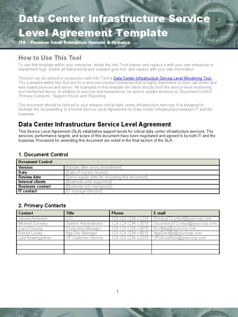 data center infrastructure sla template service level agreement data center. Black Bedroom Furniture Sets. Home Design Ideas