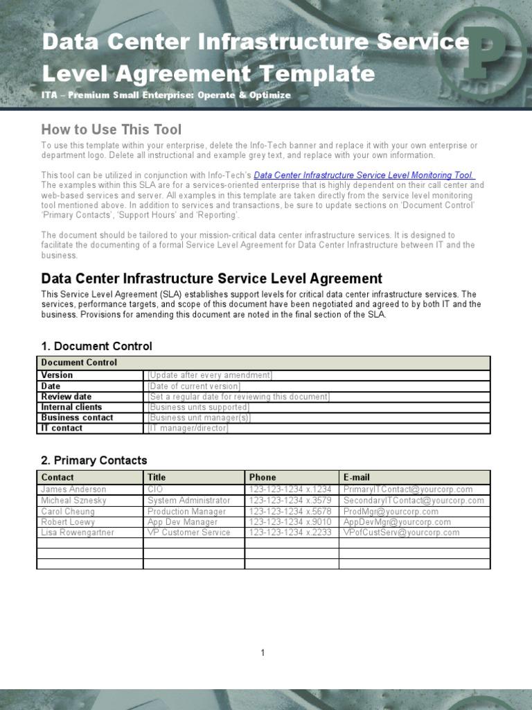 Data Center Infrastructure SLA Template | Service Level Agreement ...