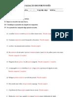 AVALIAÇÃO DE PORTUGUÊS- periodo simples e composto gabarito