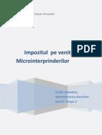 Impozitul Pe Venitul Microintreprinderilor