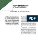 Blood-Ordering for Otolaryngology
