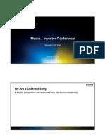 Presentation Materials Sony Corporation's Investor - Analyst Meeting