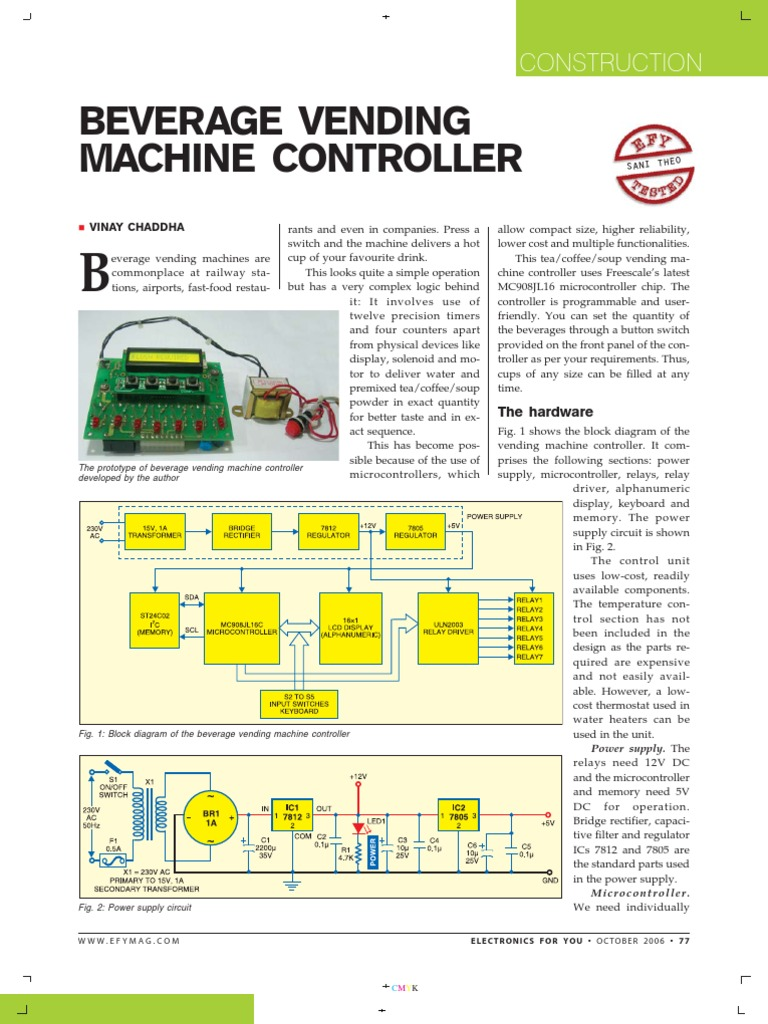 Oct 2006 Beverage Vending Machine Relay Microcontroller Wiring Diagram