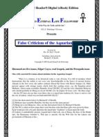 Aquarian Gospel, False Criticism