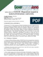 Decreto Legge 1 Settembre 2008 - n 137